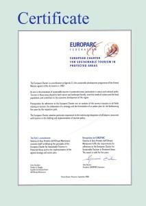 Carta Europea del Turismo Sostenibile SIPOM Certificate