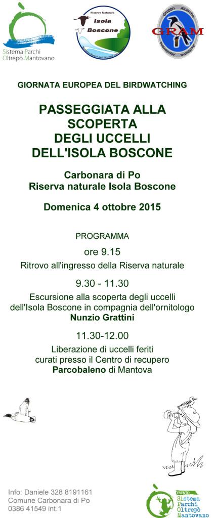 Depliant giornata birdwatching Isola Boscone 4-10-2015